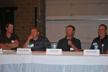 Wisconsin crop growers Dan Craig, Larry Strupp, Tom Greil and Scott Stoffel participated in a panel on using gypsum for alfalfa acres.